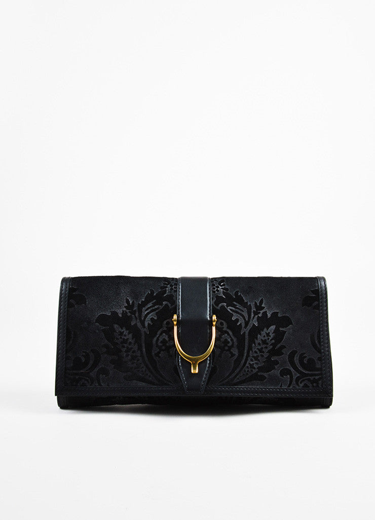 "Gucci Black Suede Leather Distressed Brocade ""Soft Stirrup"" Clutch Bag Frontview"
