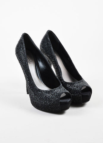 "Gucci Black Strass Crystal ""Sofia Etoile"" Peep Toe Platform Pumps Frontview"