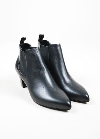 "Black Gucci Leather Pointed Toe Stacked Heel Ankle ""Helene"" Boots Front"