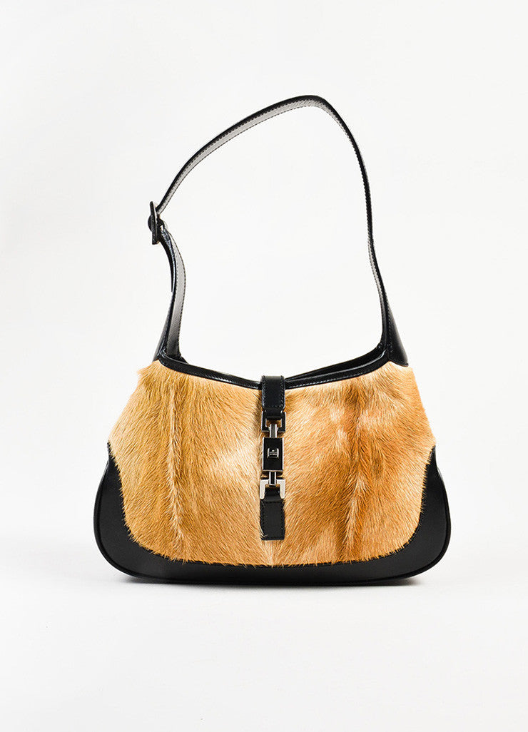 "Gucci Black and Tan Pony Hair and Leather ""Jackie O"" Hobo Shoulder Bag Frontview"