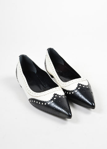 "Black and White Gucci Leather ""Gia"" Pointed Toe Brogue Flats Frontview"