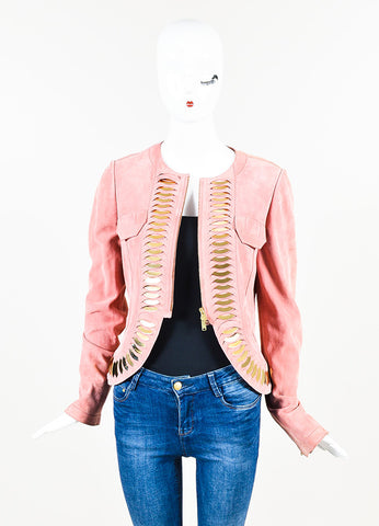 Pink and Gold Toned Gucci Suede Mirror Paillette Scale Zip Jacket Front