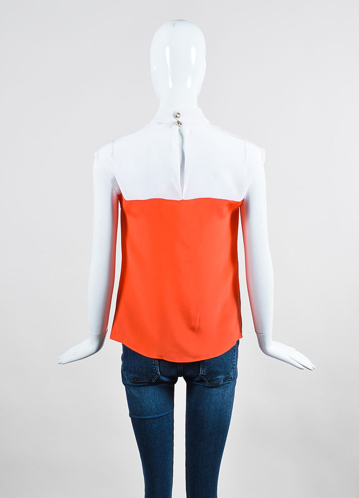 White and Neon Orange Gucci Silk Color Block Sleeveless Round Neck Blouse Backview