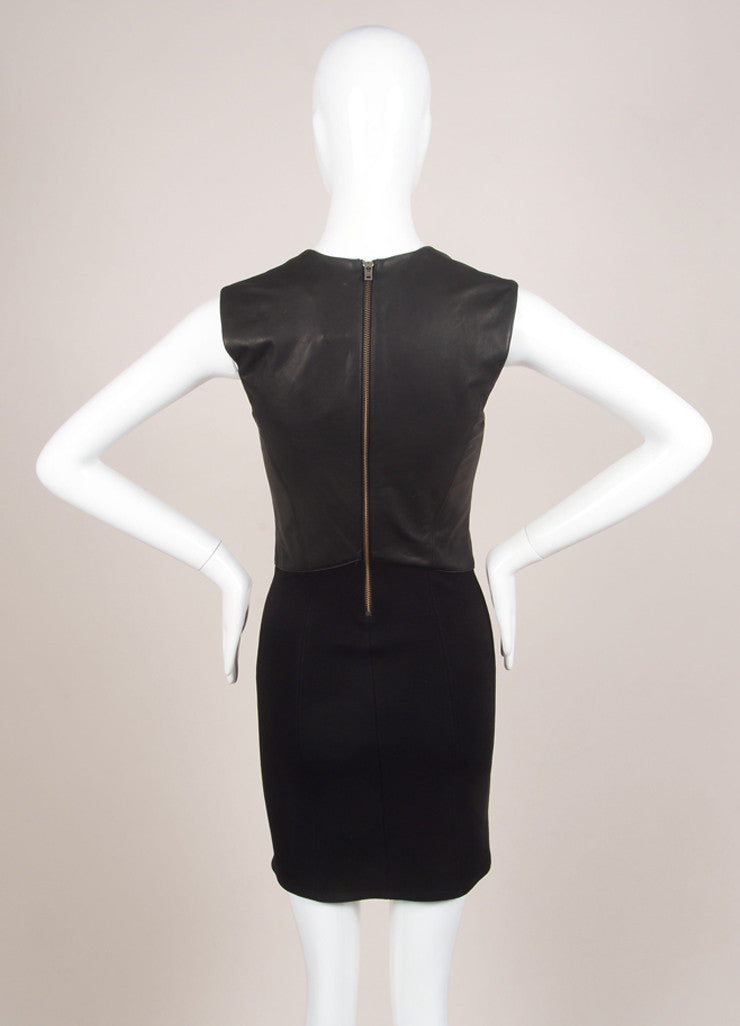 HELMUT Helmut Lang New With Tags Black Leather Knit Contrast Sleeveless Dress Backview