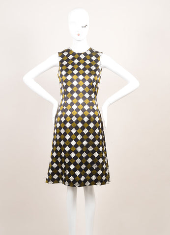 "Jonathan Saunders New With Tags Black, White, and Green Printed ""Campion"" Dress Frontview"