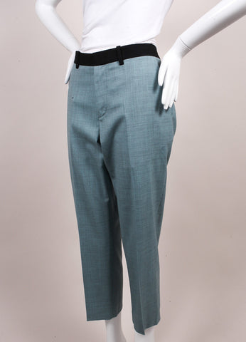 "Jonathan Saunders New With Tags Blue and Black Wool ""Francine"" Ankle Trousers Sideview"