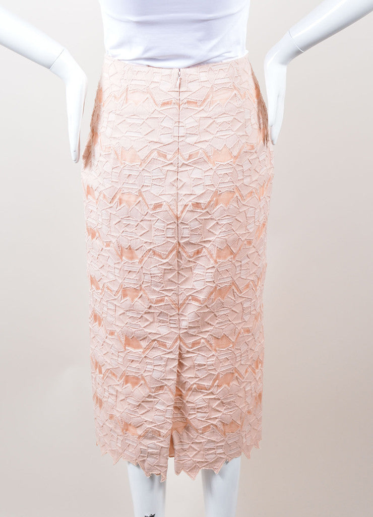 Jonathan Simkhai Pink Geometric Lace and Mesh Pencil Skirt Backview