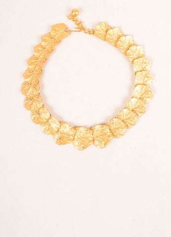 Kenneth Jay Lane Gold Toned Leaf Link Necklace Frontview
