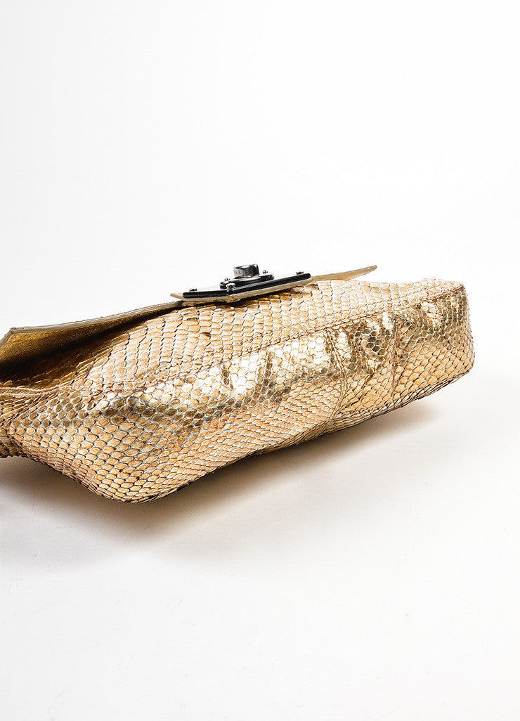Lanvin Gold and Silver Metallic Python Leather Ring Handle Clutch Bag Bottom View