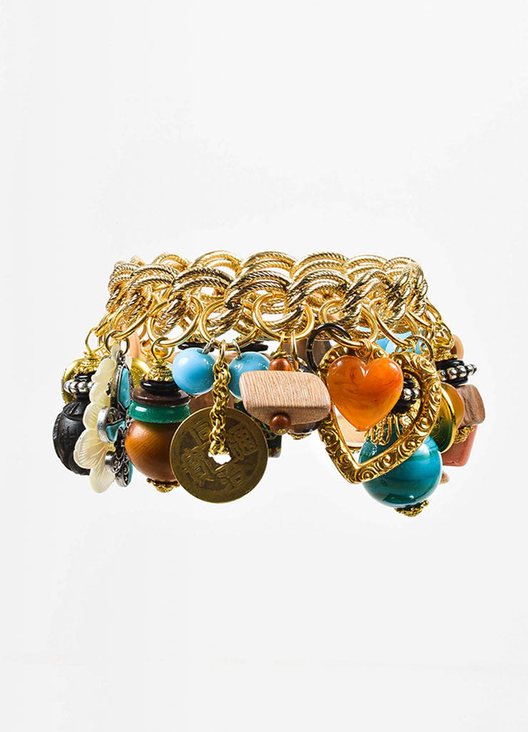 Gold Toned and Multicolor Lawrence Vrba Capricorn Charm Chain Bangle Bracelet Frontview