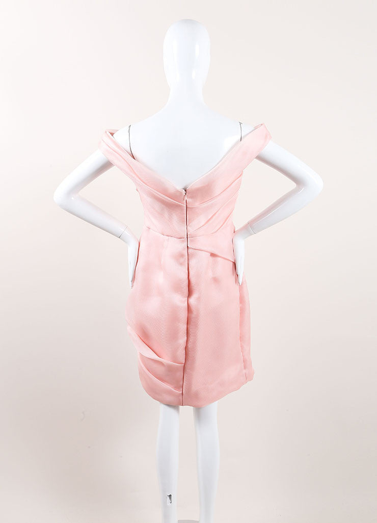 Lela Rose New With Tags Light Pink Silk Woven Pleated Off the Shoulder Dress Backview