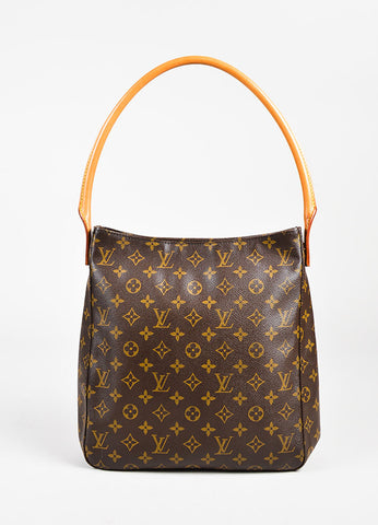"Louis Vuitton Brown and Tan Coated Canvas & Leather ""Looping"" GM Bag Frontview"
