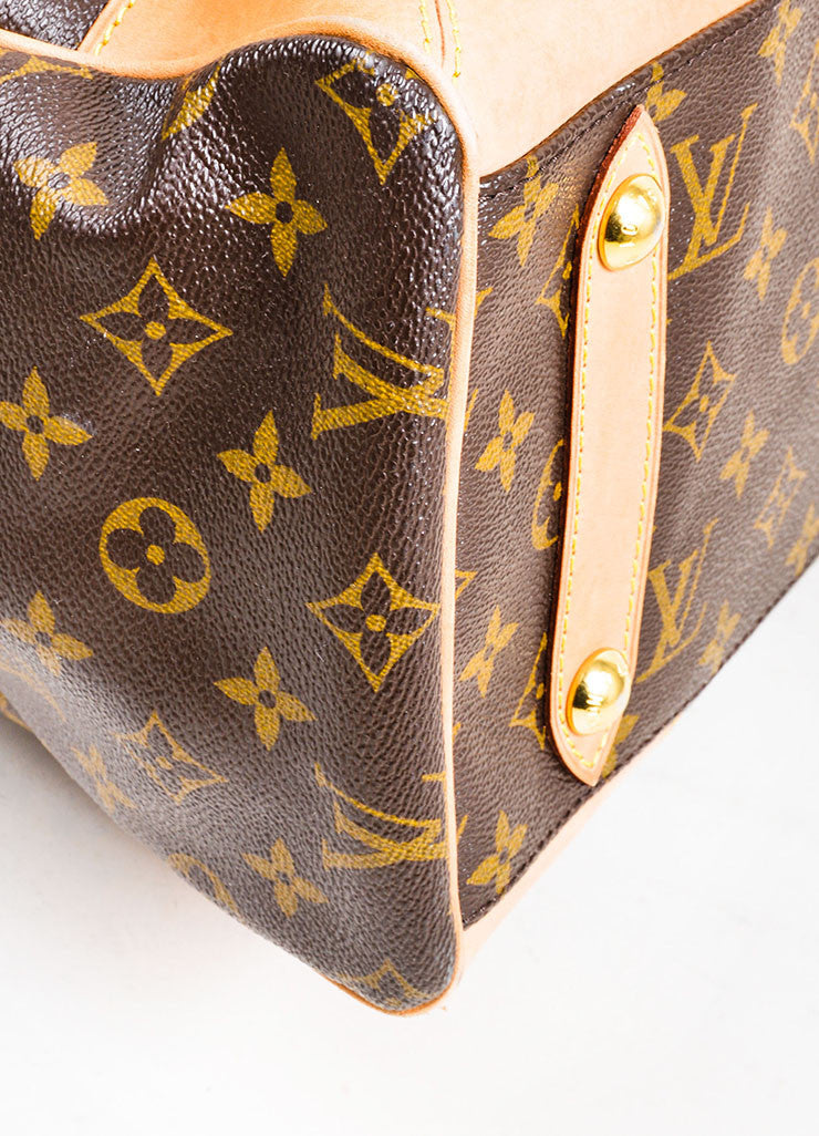 "Brown Louis Vuitton Monogram Canvas and Leather ""Retiro GM"" 2 Way Bag Detail"