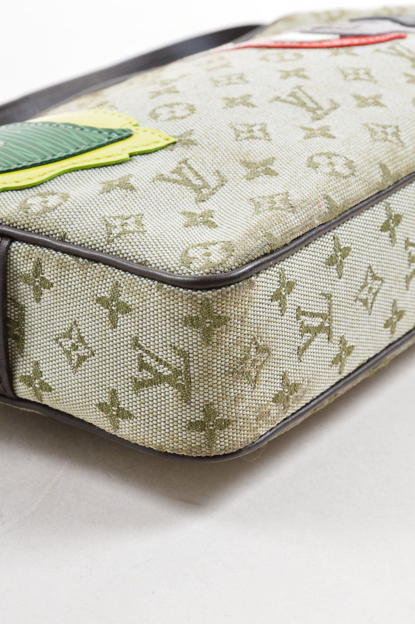 "Louis Vuitton Beige Mini Monogram Canvas ""Conte de Fees"" Mushroom Zip Pochette Bag Detail"
