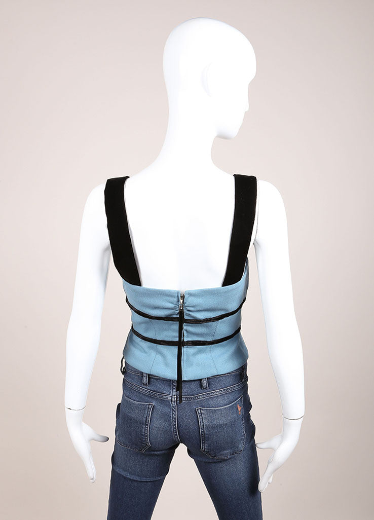 Louis Vuitton Blue and Black Wool and Velvet Bow Cropped Bustier Backview