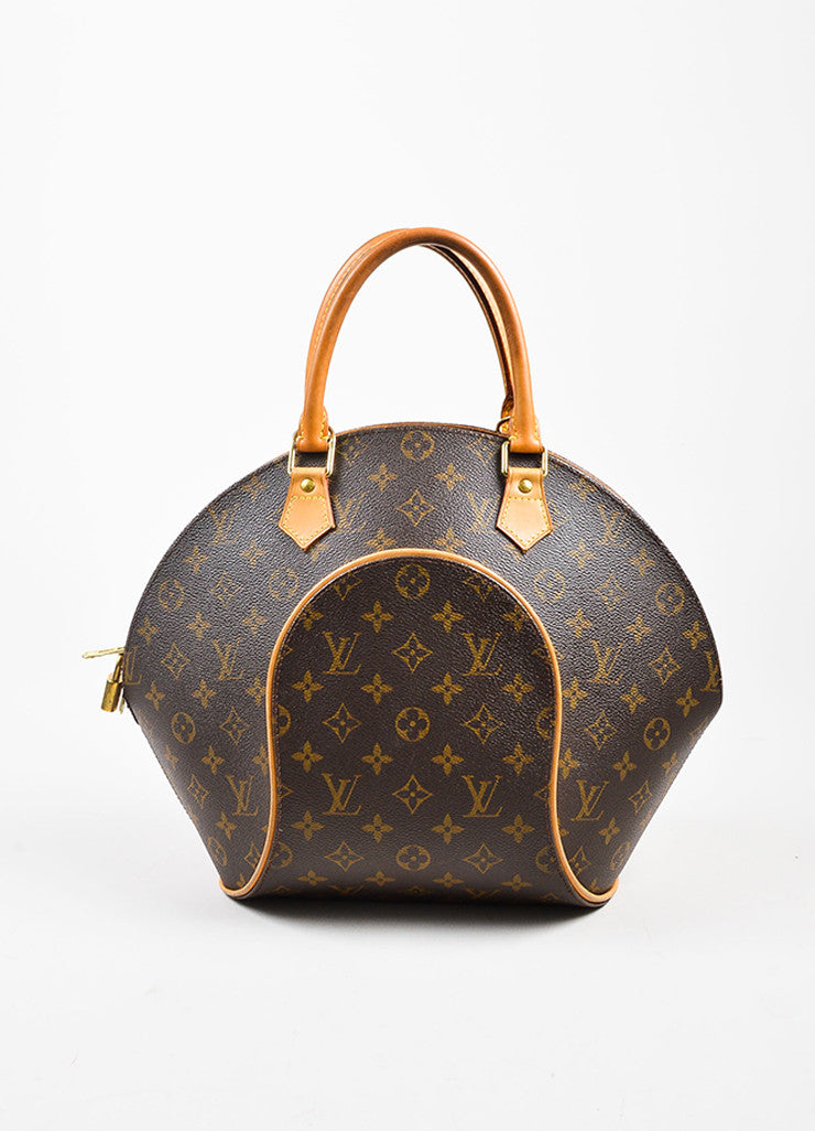 "Louis Vuitton Brown and Tan Coated Canvas and Leather Monogram ""Ellipse MM"" Bowler Bag Frontview"