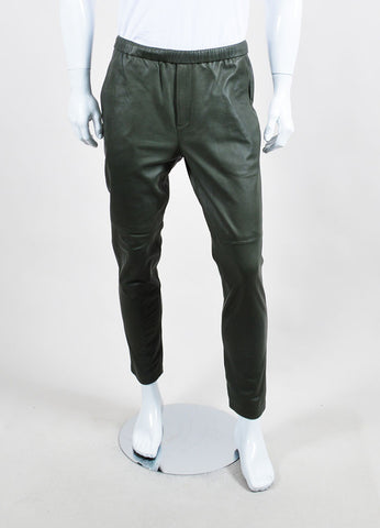 Men's Theory Olive Green Leather Drawstring Straight Leg Pants Front