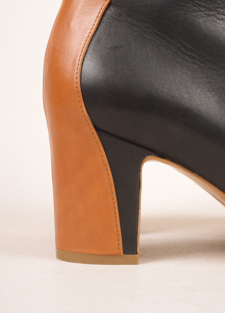 Maison Martin Margiela Black and Brown Leather Ankle Boots Detail