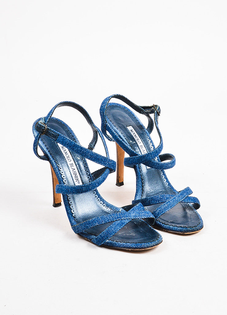Manolo Blahnik Dark Blue Denim Cross Strap Heeled Sandals Frontview