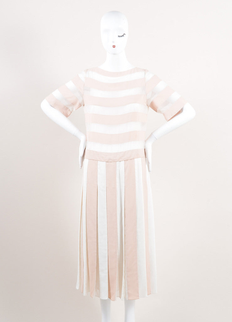 Marc Jacobs New With Tags Nude and Cream Stripe Sheer Panel Short Sleeve Dress Frontview