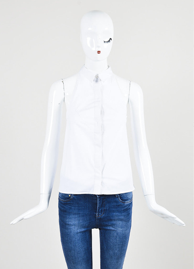 McQ Alexander McQueen White Button Down Sleeveless Top Front