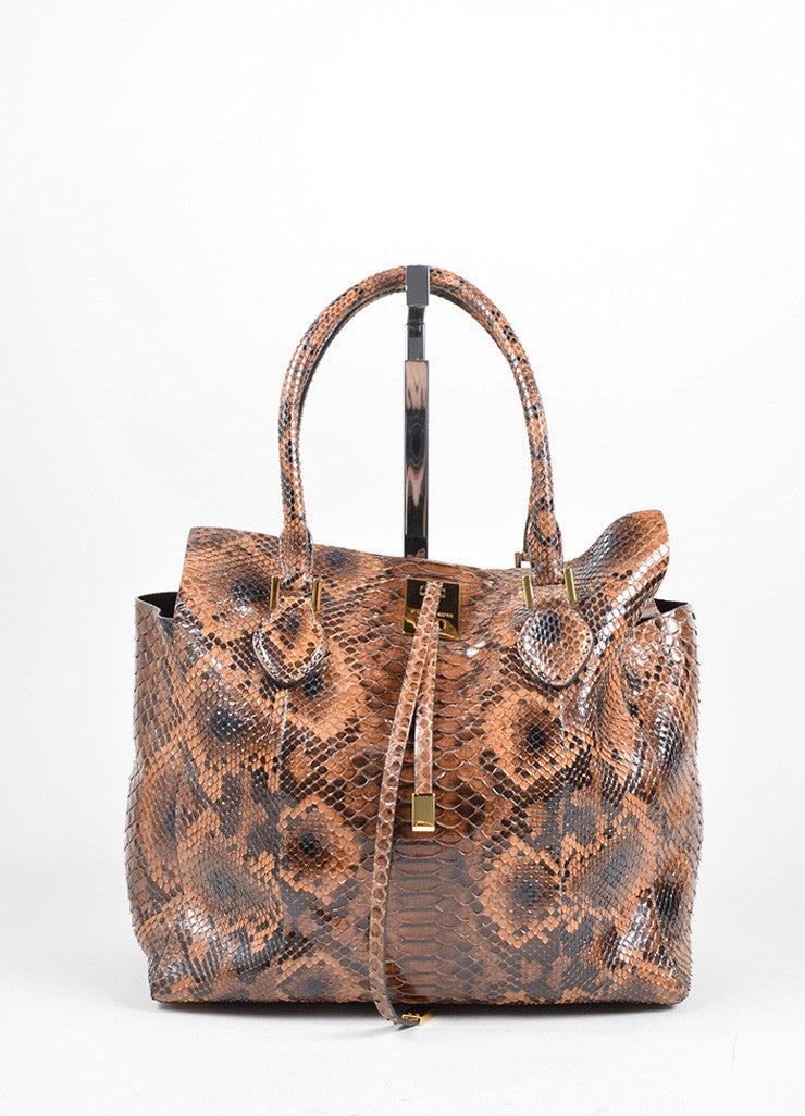 "Michael Kors Brown Python Leather ""Miranda"" Tote Bag Frontview"