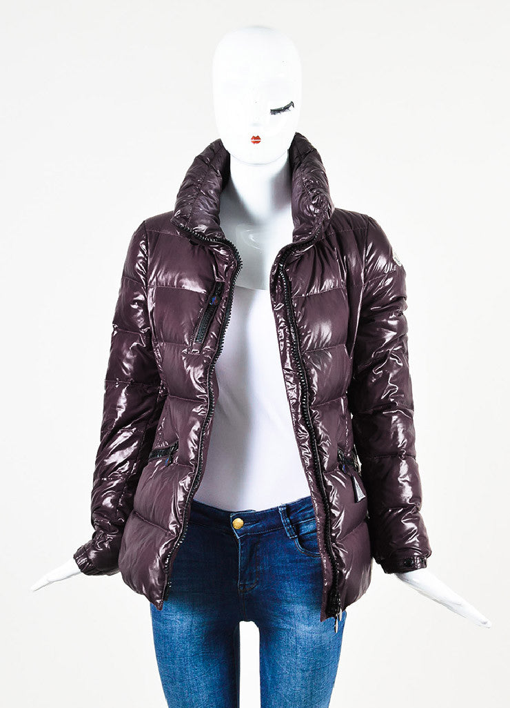 "Moncler Eggplant Purple Quilted Puffer Down Hooded ""Clairy"" Jacket Frontview"