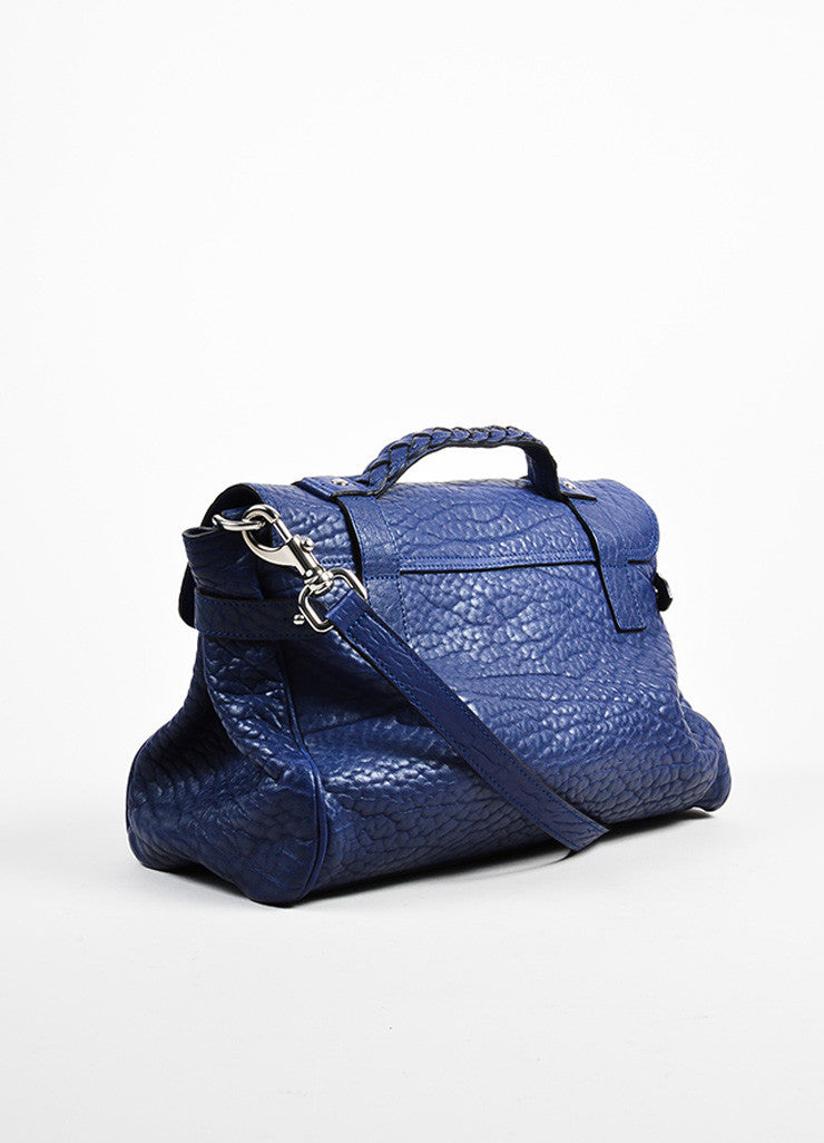 "Indigo Blue Pebbled Leather Mulberry ""Alexa"" Satchel Bag Sideview"