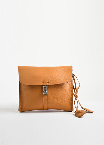 Nagatani Brown Pebbled Leather Square Clutch Bag Frontview