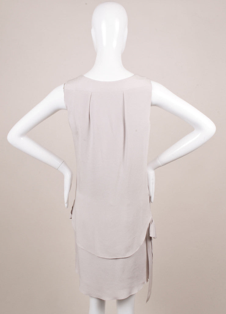 Nina Ricci Grey Draped Button Detail Sleeveless Dress Backview