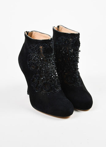 Oscar de la Renta Black Suede Beaded Mesh Panel Heeled Booties Frontview