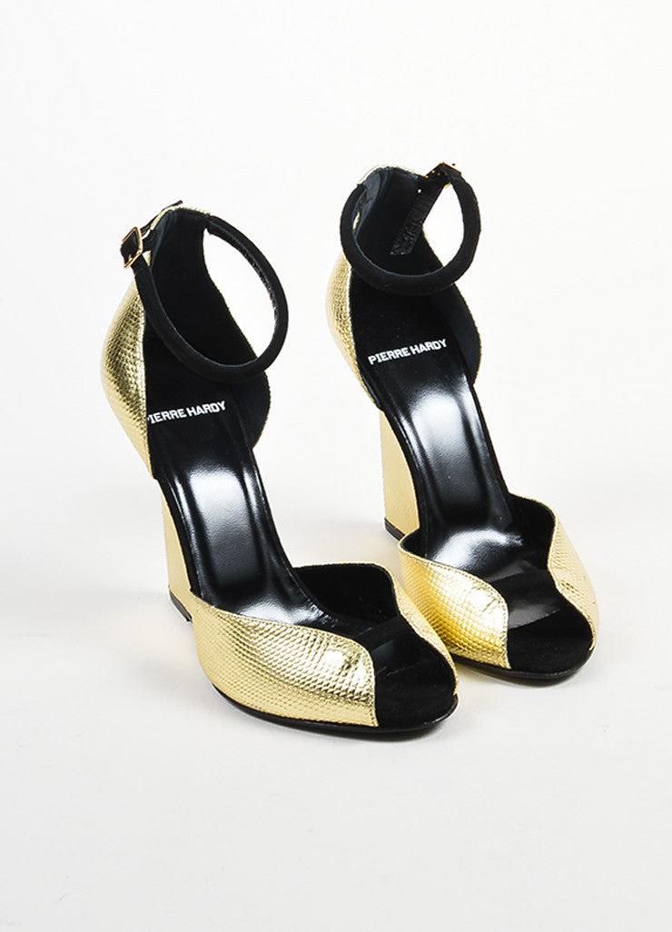 "Gold Metallic and Black Pierre Hardy ""Amanda"" Cut Out Wedge Heels Frontview"