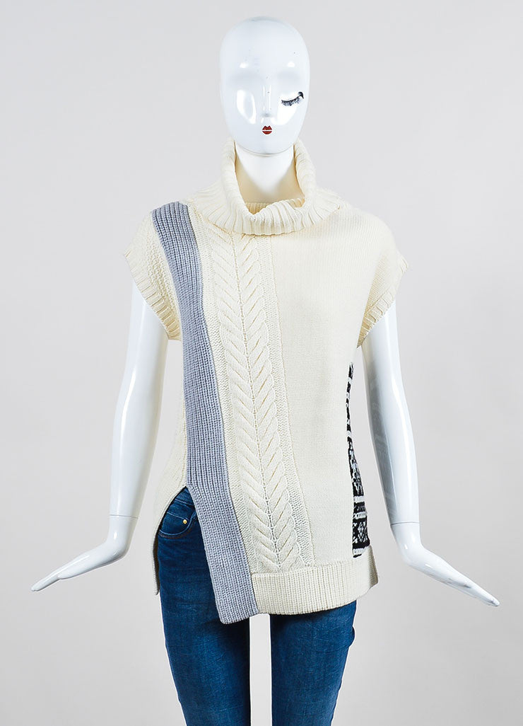 Cream Prabal Gurung Wool Mixed Knit Oversize Sleeveless Turtleneck Sweater Frontview