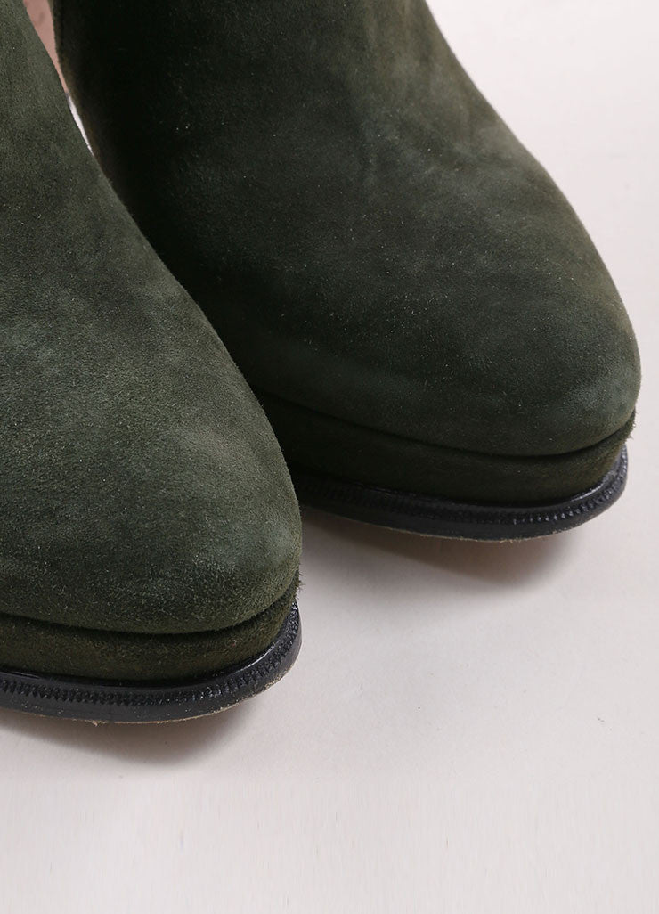 Prada Army Green Suede Buckle Platform Ankle Boots Detail
