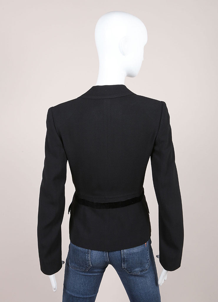 Prada Black Velvet Waist Trim Long Sleeve Snap Button Wool Blazer Jacket Backview