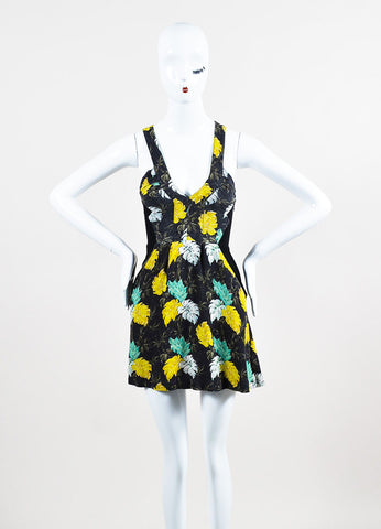 Black, Green, and Yellow Proenza Schouler Floral Print Sleeveless Mini Dress Frontview