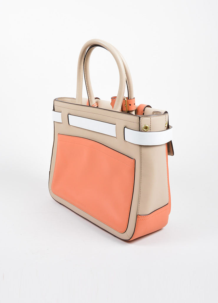 "Reed Krakoff White, Beige, and Coral Leather Colorblock ""Boxer"" Tote Bag Sideview"