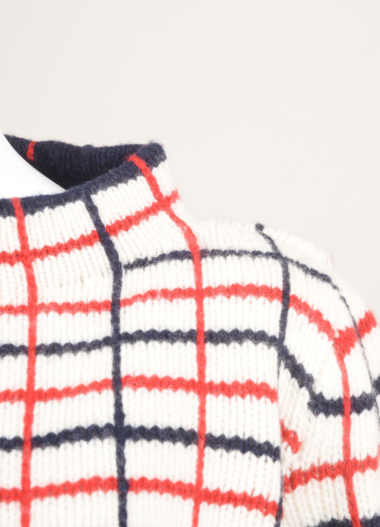 Rosie Assoulin New With Tags Cream, Navy, and Red Wool and Cashmere Checked Sweater Detail