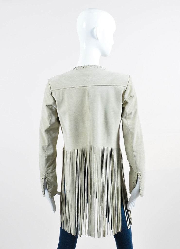 "The Perfext Beige Suede Leather Long Fringe ""Christy"" Jacket Backview"