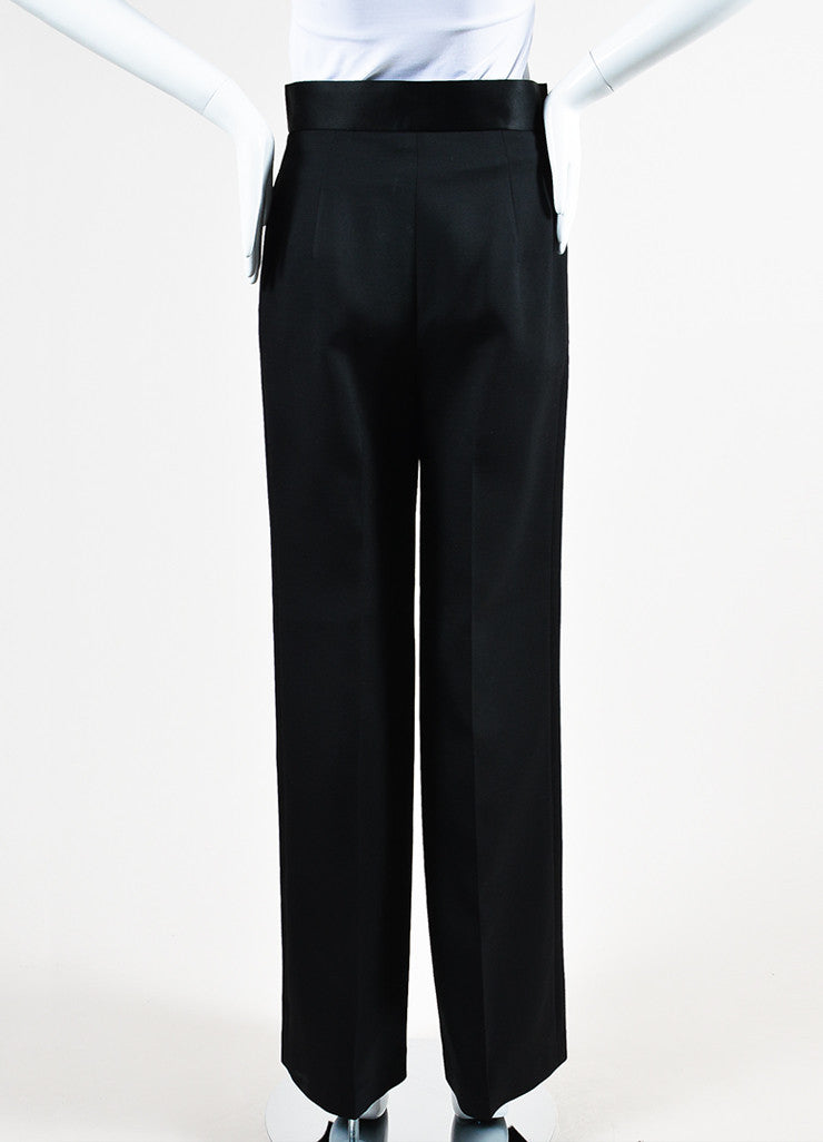 "The Row Black Wool Silk Trim High Waist Wide Leg ""Helip"" Pants Backview"