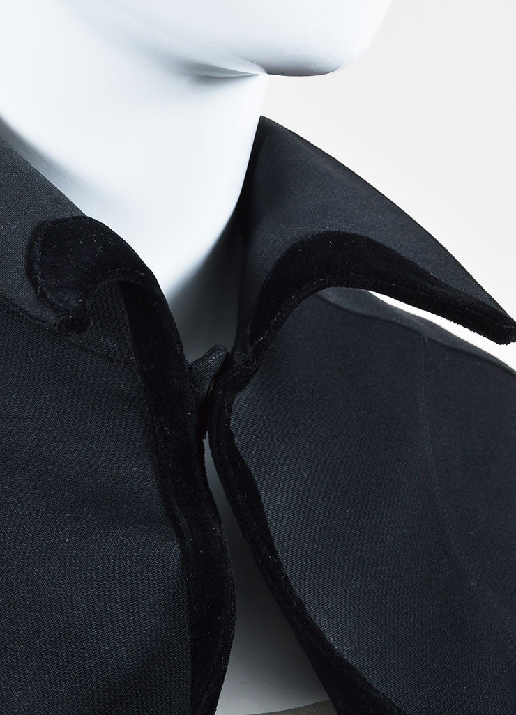 Thierry Mugler Black Wool Cotton Velvet Flared Cropped Shrug Jacket Detail