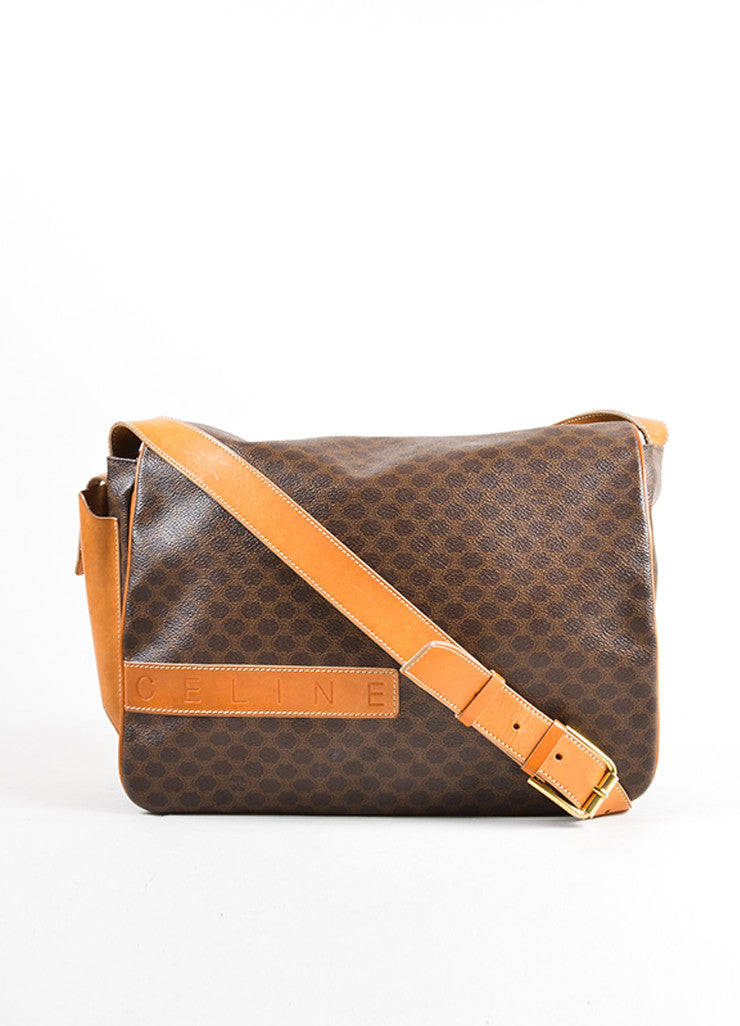 Celine Brown and Tan Coated Canvas and Leather Macadam Printed Messenger Bag Frontview