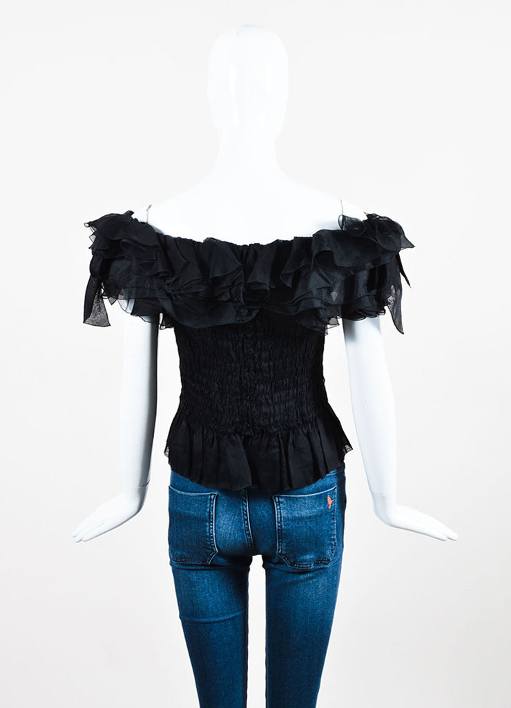 Black Chanel Boutique Off Shoulder Ruffle & Bow Trim Smocked Top Back