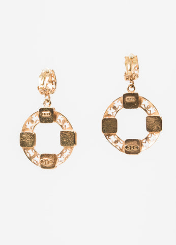 Gold Toned Chanel Faux Pearl 'CC' Clip On Hoop Earrings