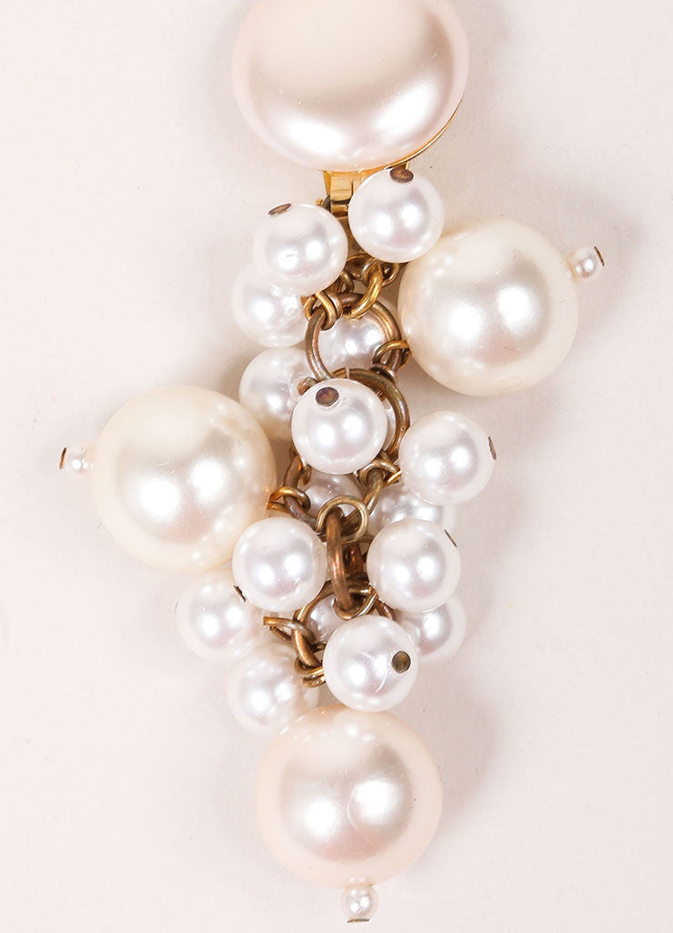 Vintage Cream and Gold Toned Dangling Faux Pearl Cluster Drop Earrings Detail