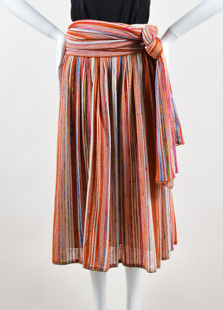 Lanvin Multicolor Striped Knit Midi Skirt With Wrap Frontview