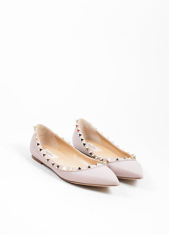 Blush Leather Valentino Rockstud Pointed Toe Flats Frontview