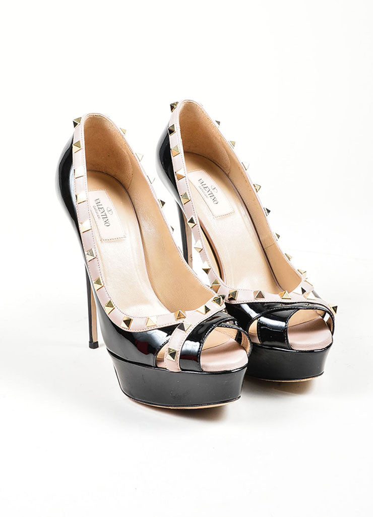 "Black Valentino Patent Leather Studded ""Rockstud"" Peep Toe Pumps Frontview"