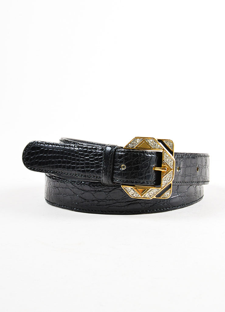 Black Valentino Alligator Leather Rhinestone Buckle Belt Frontview