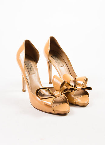 Beige Valentino Patent Leather Peep Toe D'Orsay Pumps Front